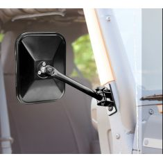 Quick Release Mirrors, Pair, Black, Rectangular, 97-14 Jeep Wrangler