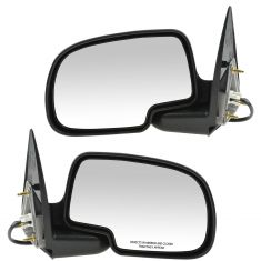 99-02 Sierra Power Mirror Blk w/Gloss Blk Cap Pair