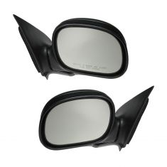 97-01 F150 Manual Mirror w/Flat Black Cap Pair