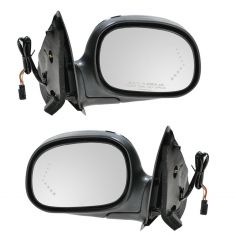 98-04 Ford F150; 98-99 F250 Mirror Power Turn Signal (Chevron In Glass) Chrome & Black PAIR