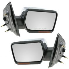 07-08 Ford F150, Lincoln Mark LT Power Heated w/Turn Signal & Chrome Cover Mirror PAIR