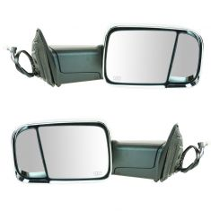 09-11 Dodge Ram 1500 (exc Mega Cab); 10-11 2500 3500 Pwr Htd TS PL Chrme Cap Tow Upgrade Mirror PAIR