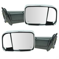 09-11 Dodge Ram 1500; 10-11 2500, 3500 Power, Htd, Flip Up Towing w/Chrome Cap Mirror PAIR (Upgrade)