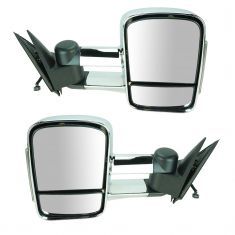99-02 Sierra. Silverado Power, Heated, Manual Telescoping, w/Clear-Smoked TS Lens Chrome Mirror PAIR