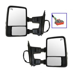 08-10 Ford SD PU Pwr Htd w/Mem Textured  Cap Turn Sig & Clrnce Lite (Upgrade Style) Tow Mirror PAIR