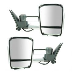 99-07 GM Full Size Truck, SUV Manual, w/Smoked LED TS, Dual Arm Chrome Tow Mirror PAIR (Upgrade)