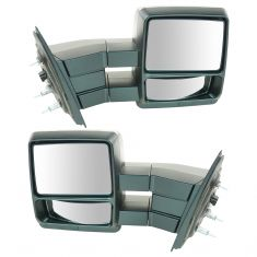 04 Ford F150 New Body; 05-12 F150 Power (w/Black Textured Cap) Tow Mirror PR (09 Style) (TR)