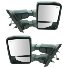 07-14 Ford F150 Pwr Fold Heat Smoked TS/Clearance LT Dual Arm & Glass Blk Txt Tow Mir PAIR (New TR)
