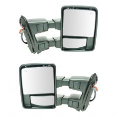 08-15 Ford SD PU Pwr Fold, Pwr Telescope Htd Smoked Turn Sig & Clrnce Lite Chrome Tow Mirror PAIR