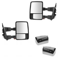 08-15 Ford SD PU Pwr Fold, Pwr Teles, Htd, Mem, Smoked Trn Sig & Clrnce Lite Chrome Tow Mirror Pair