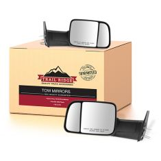 94-97 Ram 1500, 2500, 3500 Power Textured Blk Tow Mirror (w/Spt Brkts & 4th Gen Head) PAIR (TR)