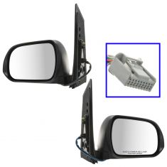 13-16 Toyota Sienna Power Folding, Htd, Memory, BSM, TS, PL (w/Spotter Glass) Mirror w/PTM Cap Pair