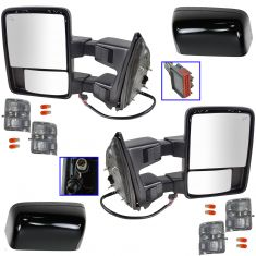 08-15 Ford SD PU Pwr Fold, Pwr Teles, Htd, Mem, Smoked Trn Sig & Clrnce Lite Tow Mirror PTM Cap PAIR