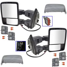 08-15 Ford SD PU Pwr Fold, Pwr Teles, Htd, Mem, Smoked Trn Sig & Clrnce Lite Tow Mirror Chrome PAIR