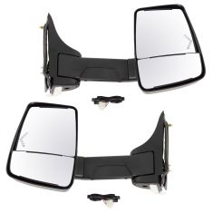 03-17 Express, Savana Cut-Away Van Power w/Dual Htd Glass,LED Turn Signal Text Black Tow Mirror PAIR