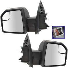 15-16 Ford F150 Textured Black Power Mirror w/Spotter Glass Pair (Ford)