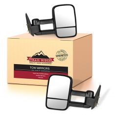 99-07 Chevy GMC Pickup SUV Manual Textured Black Tow Mirror Pair (Trail Ridge)