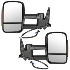 03-07 GM Truck Power Heat Amber Signal Text Black Tow Mirror Pair (Trail Ridge)