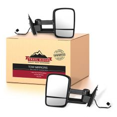 97-04 F150; 97-99 F250LD Power Text Black Upgrade Tow Mirror Pair (Trail Ridge)