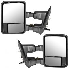 99-07 Ford SD PU Pwr Htd TS Clr Chrome/PTM Upgrade Tow Mirror Pair (Trail Ridge)