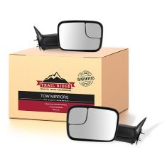 94-02 Dodge Ram 7x10 Manual Textured Black Flip-Up Tow Mirror & Bracket Pair (Trail Ridge)
