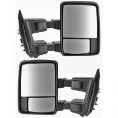 99-10 Ford SD Pickup Manual Chrome & PTM Caps (08 Style) Mirror PAIR (Trail Ridge)