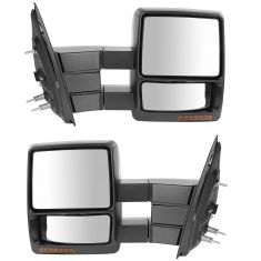 07-14 Ford F150 Power Heated Signal Puddle Light Textured Black Towing Mirror PAIR (Trail Ridge)