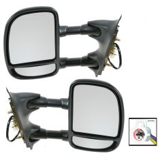 99-04 Ford F250SD-F450 Pickup Power Textured Black Towing Mirror PAIR (Trail Ridge)