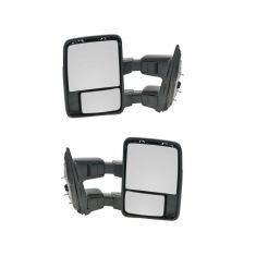 99-07 Ford SD Pickup Power Chrome & PTM Caps (08 Style) Towing Mirror PAIR (Trail Ridge)