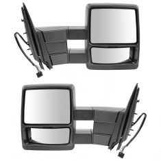 03-10 Ford Expedition Power Heated Puddle Textured Black Tow Mirror PAIR (Trail Ridge)