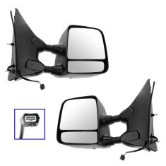 05-15 Nissan/Suzuki PU/SUV Power Heated Textured Black & Chrome Towing Mirror PAIR (Trail Ridge)