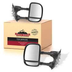 00-05 Ford Excursion; 99-10 F250/F350; 99-03 F450/F550 Manual Tow Text Blk Mirror PAIR (Trail Ridge)