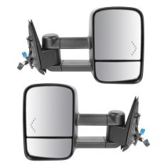 03-07 GM Truck SUV Power Heated Red Chevron Signal Text Black Tow Mirror PAIR (Trail Ridge)