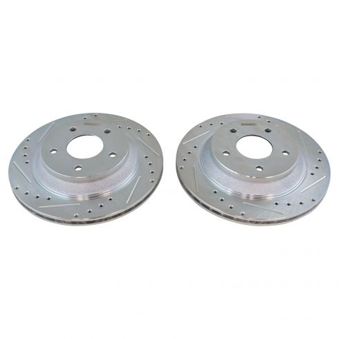 Nakamoto Performance Brake Rotor Drilled /& Slotted Coated Rear Pair for Camaro