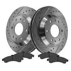 Front Performance Rotor & Posi Metallic Pad Kit 02-05 Trailblazer, Envo, Rainier