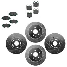 Front & Rear Performance Rotor & Posi Ceramic Pad Kit 98-10 Lexus GS IS SC300