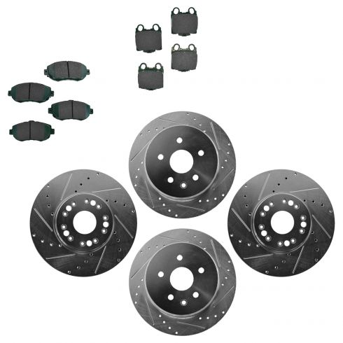 Nakamoto Front /& Rear Metallic Brake Pad /& Performance Drilled Slotted Rotor