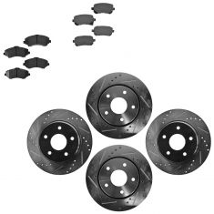 Front & Rear Performance Rotor & Posi Ceramic Pad Kit 08-12Caravan 09-13 Journey