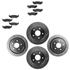 Front & Rear Performance Rotor & Posi Semi-Metallic Pads 03-08 Ram 1500