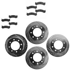 Front & Rear Performance Rotor & Posi Metallic Pad Kit 01-10 Chevy Truck/SUV