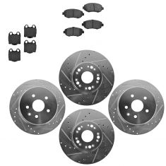 Front & Rear Performance Rotor & Posi Metallic Pad Kit 98-10 Lexus GS IS SC300