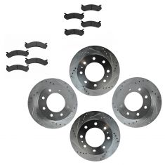 Front & Rear Performance Rotor & Posi Metallic Pad Kit 01-07 Chevy 1500HD