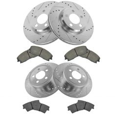 Front & Rear Performance Rotor & Premium Posi Ceramic Pad Kit 05-10 300 09-13 Challenger