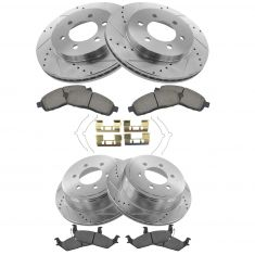 Front & Rear Performance Rotor & Premium Posi Ceramic Pad Kit 04-08 Ford F150