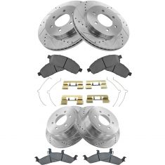 Front & Rear Performance Rotor & Premium Posi Metallic Pad Kit 04-08 Ford F150
