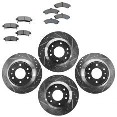 Front & Rear Performance Rotor & Metallic Pad Kit 02-05 Trailblazer, Envo