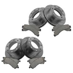 Front & Rear Performance Rotor & Posi Ceramic Pad Kit 99-04 F250, F350; 00-05 E