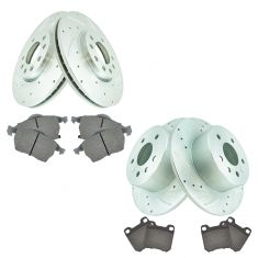 99-02 Saab 9-3; 99  9-5 Front & Rear Performance Brake Rotor & Ceramic Pad Kit