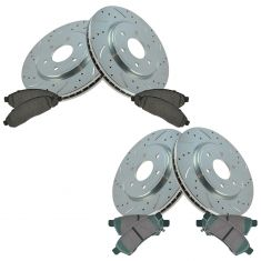 05-15 Frontier; 05-13 Xterra; 09-12 Equator Front & Rear Performance Brake Rotor & Pad Kit