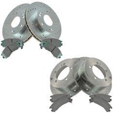 95-00 Avenge; 94-99 Eclipse Front & Rear Performance Brake Rotor & Ceramic Pad Kit